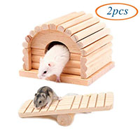 Best Hamster Cage Toys Wooden Seesaw Toy, Wood House for Small Animals, Cage Toy Chew Toy Hamster Hideout Toys