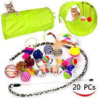 Best Cat Exercise Toys Youngever 20 Cat Toys Kitten Toys Assortments, 2 Way Tunnel, Cat Feather Teaser